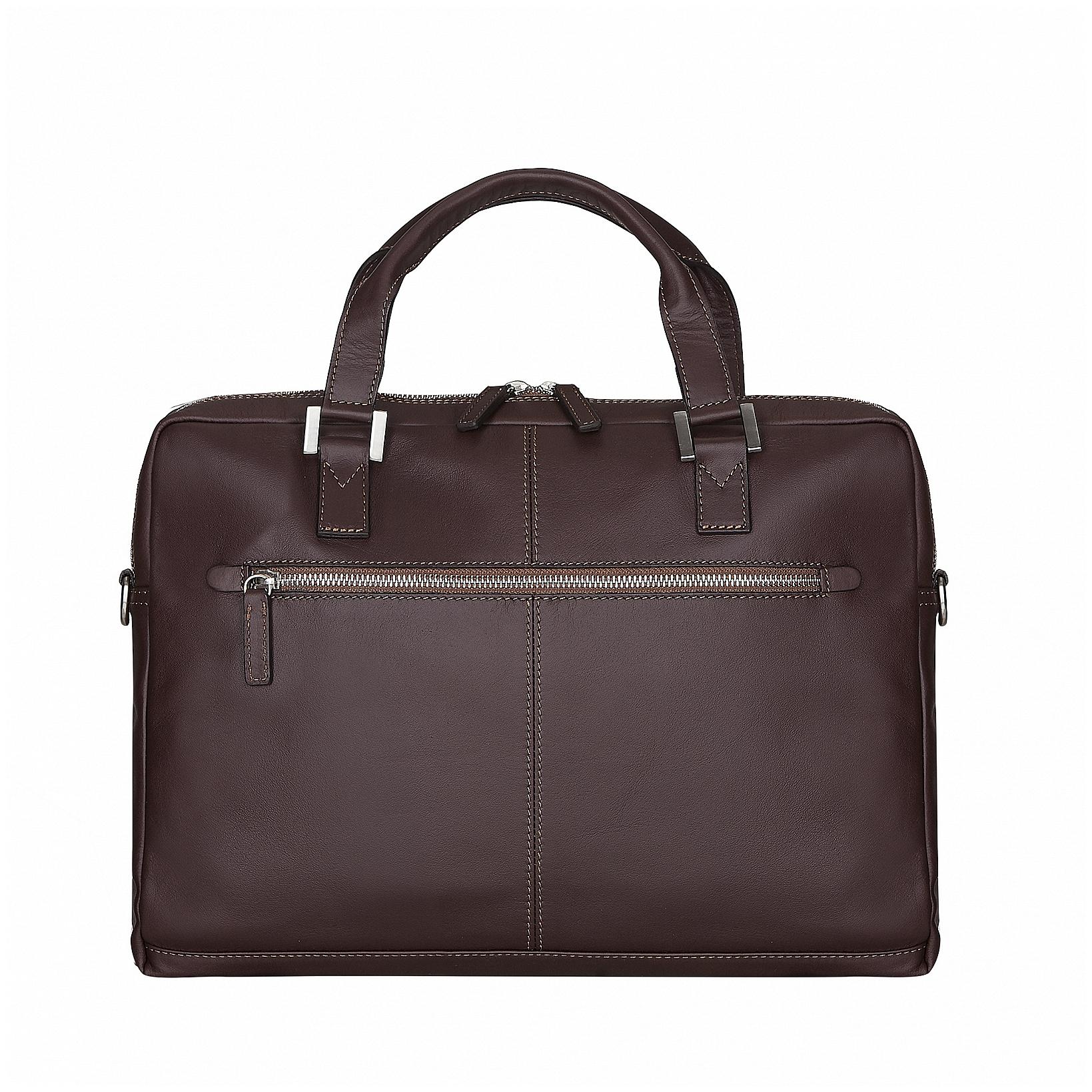 Bugatti Kožená business taška na notebook Manhattan 49111102 hnědá
