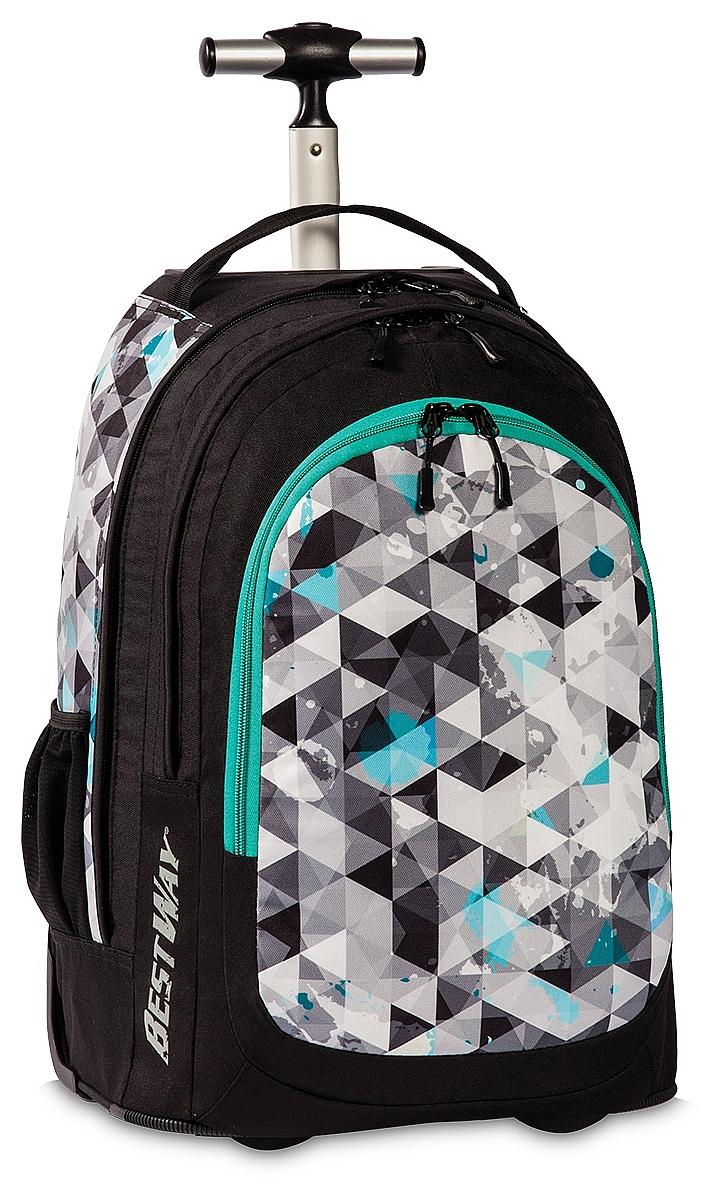 BestWay XL batoh na kolečkách s vysouvací rukojetí 40197-0124 černý-multicolor