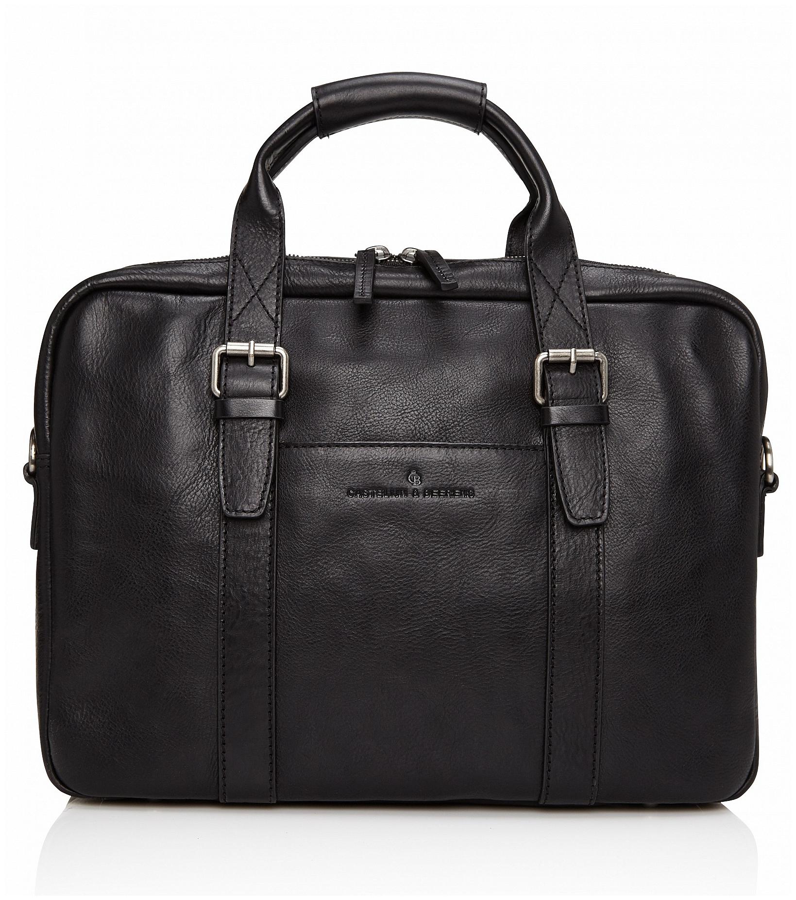 Castelijn & Beerens Kožená taška na notebook a tablet Bravo 639473 černá