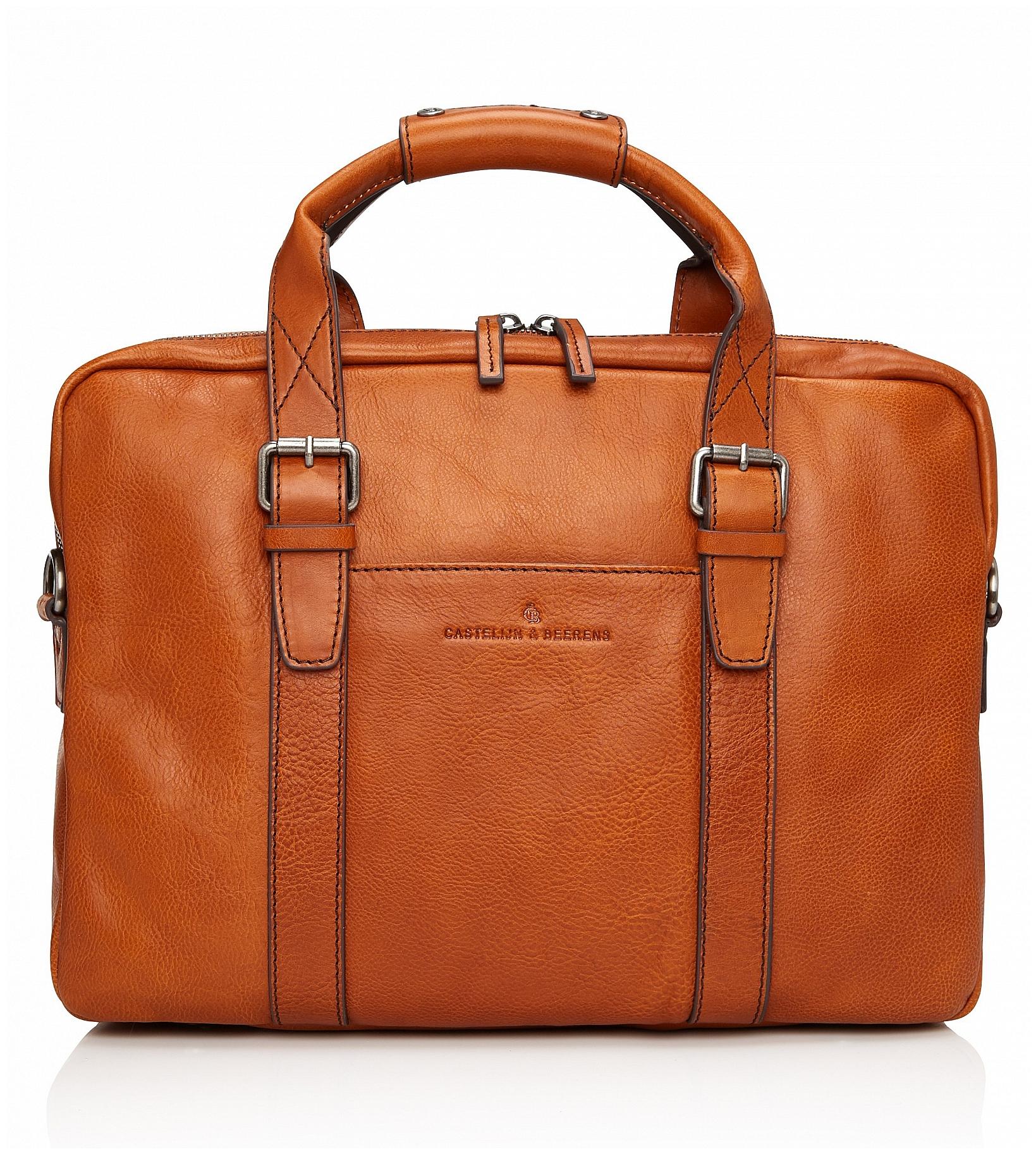 Castelijn & Beerens Kožená taška na notebook a tablet Bravo 639473 koňak