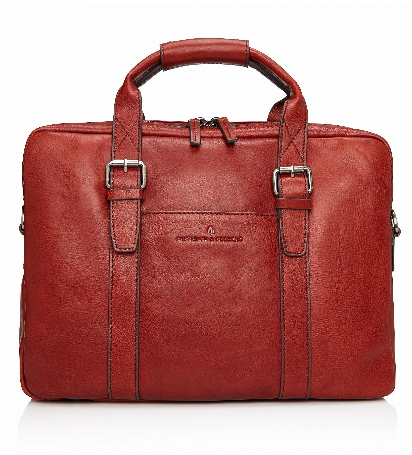 Castelijn & Beerens Kožená taška na notebook a tablet Bravo 639473 hnědočervená
