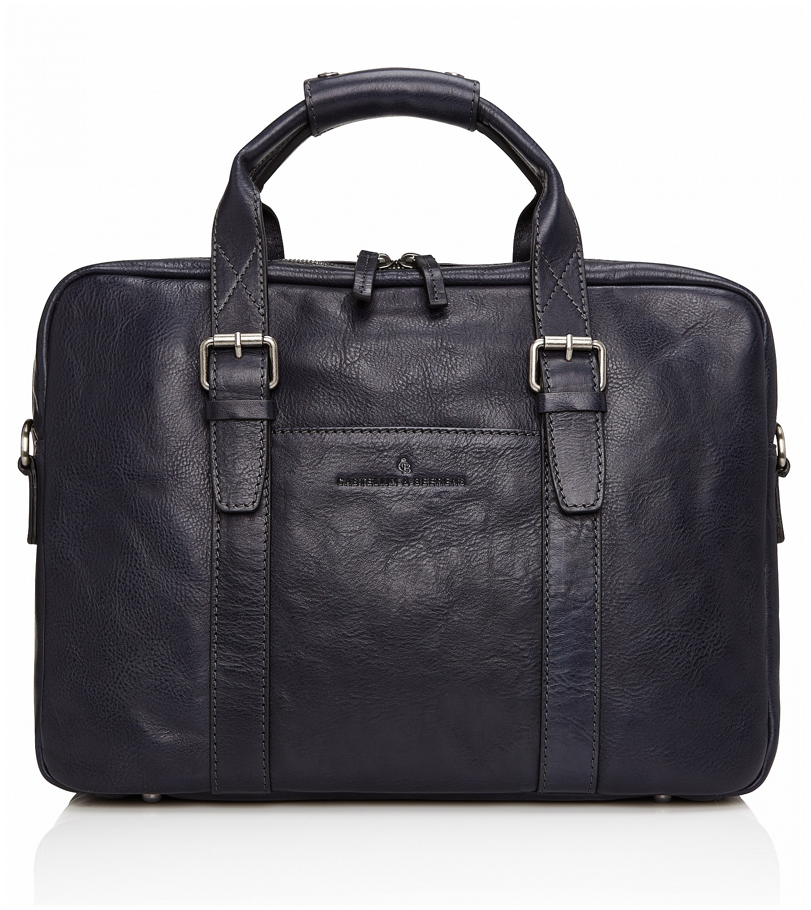 Castelijn & Beerens Kožená taška na notebook a tablet Bravo 639473 tmavě modrá