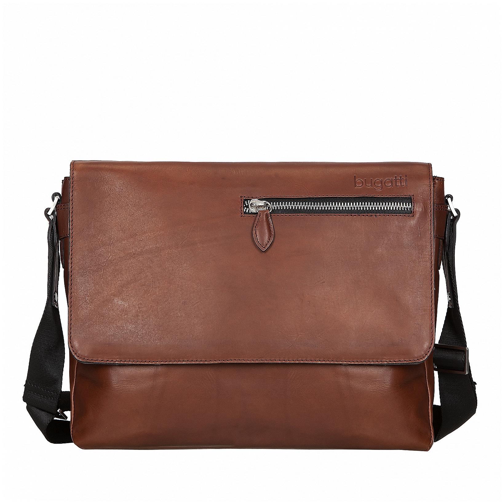 Bugatti Kožená messenger taška na notebook Domus L 49545307 koňak