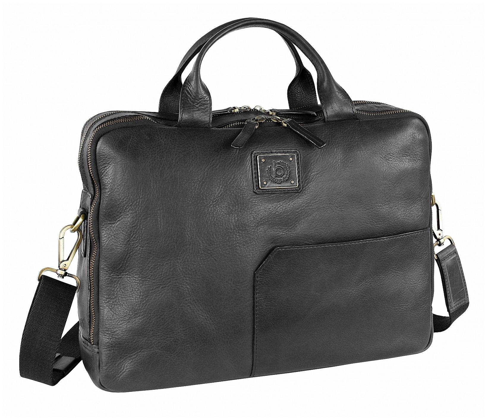 Bugatti Kožená business taška na notebook TOCCO 49864301 černá