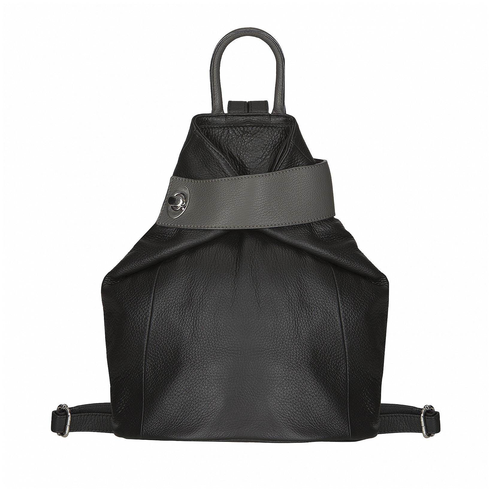 ESTELLE Dámský kožený batoh 0960 černo-šedý