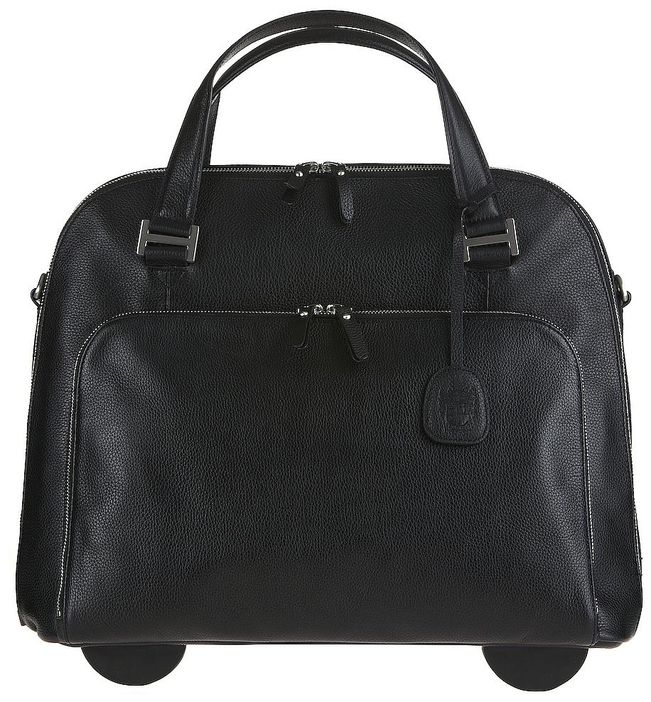 LEONHARD HEYDEN Kožená business kabelka na notebook na kolečkách MONTPELLIER 2513 černá