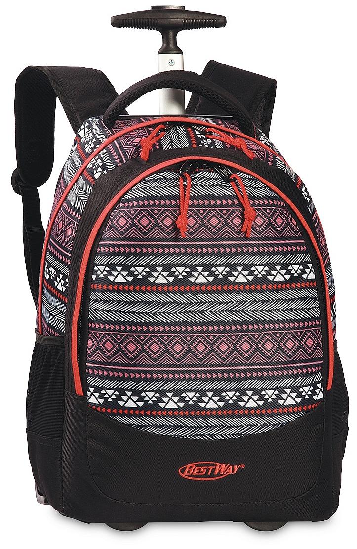 BestWay Školní batoh na kolečkách 40028-0145 černá/multicolor