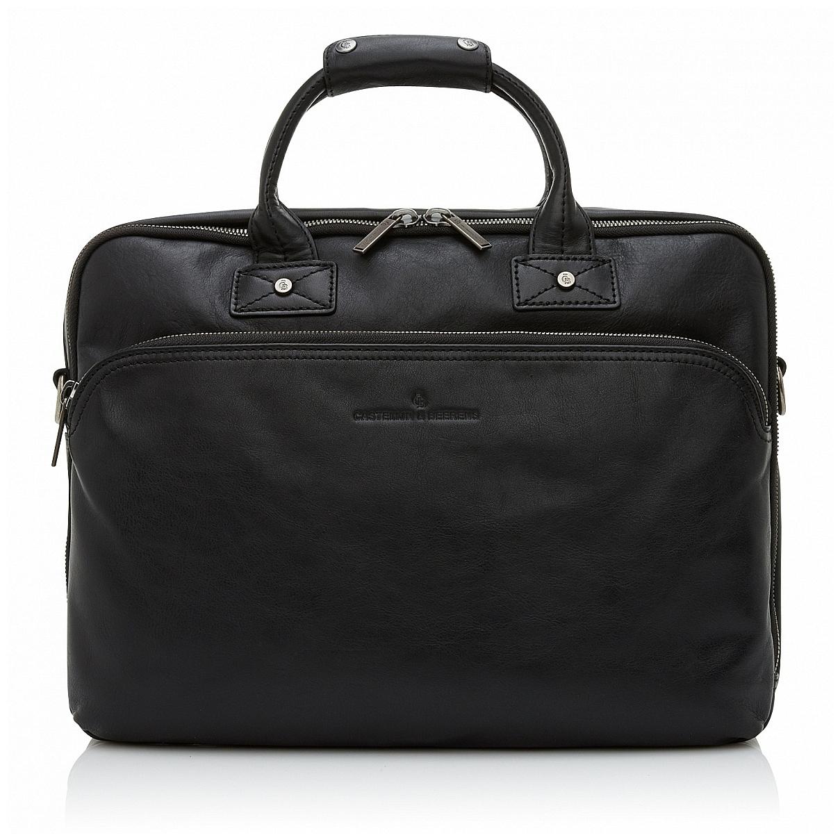 Castelijn & Beerens Kožená taška na notebook a tablet 609473 černá