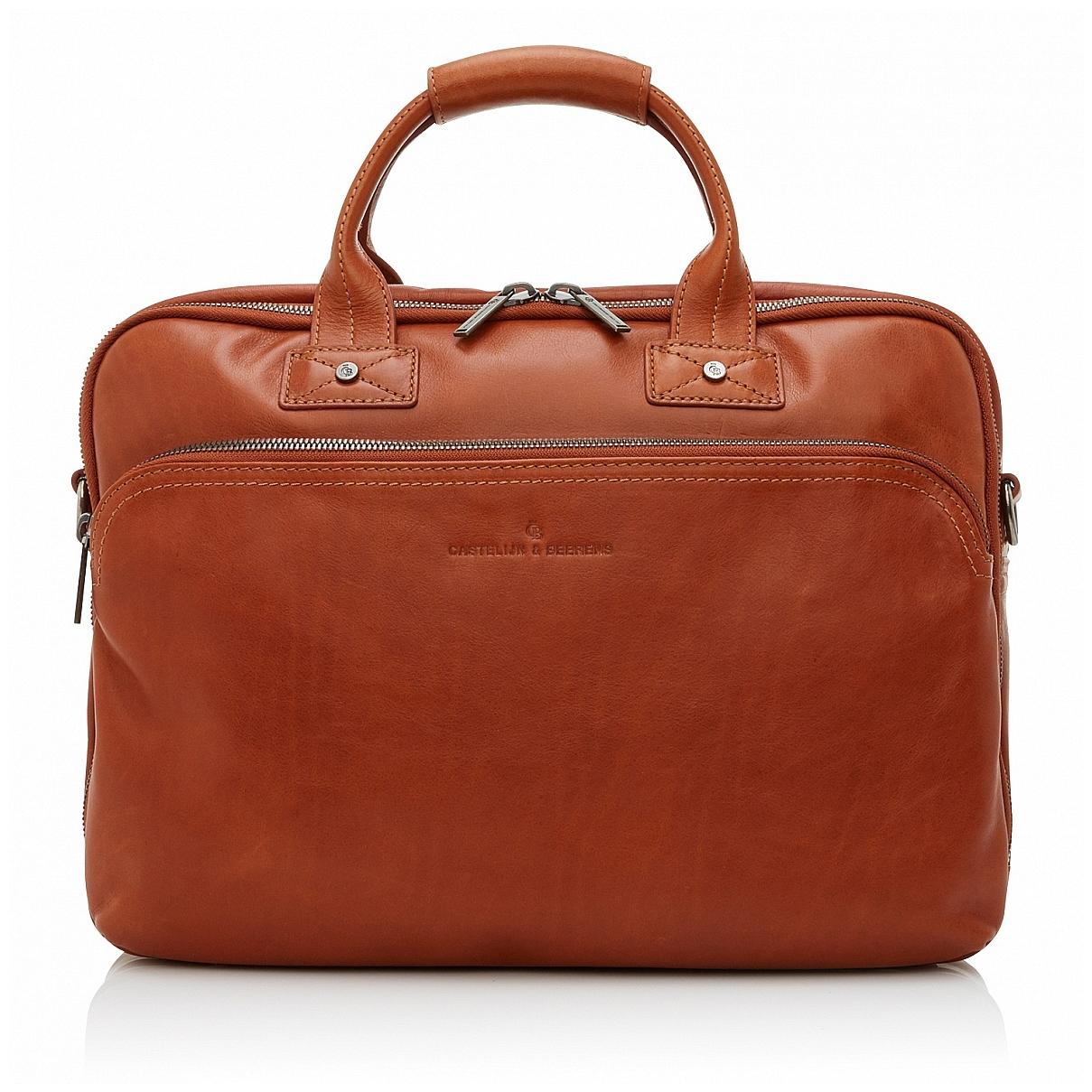 Castelijn & Beerens Kožená taška na notebook a tablet 609473 koňak