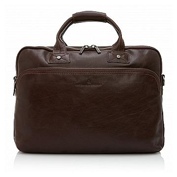Castelijn & Beerens Kožená taška na notebook a tablet 609473 tmavě hnědá