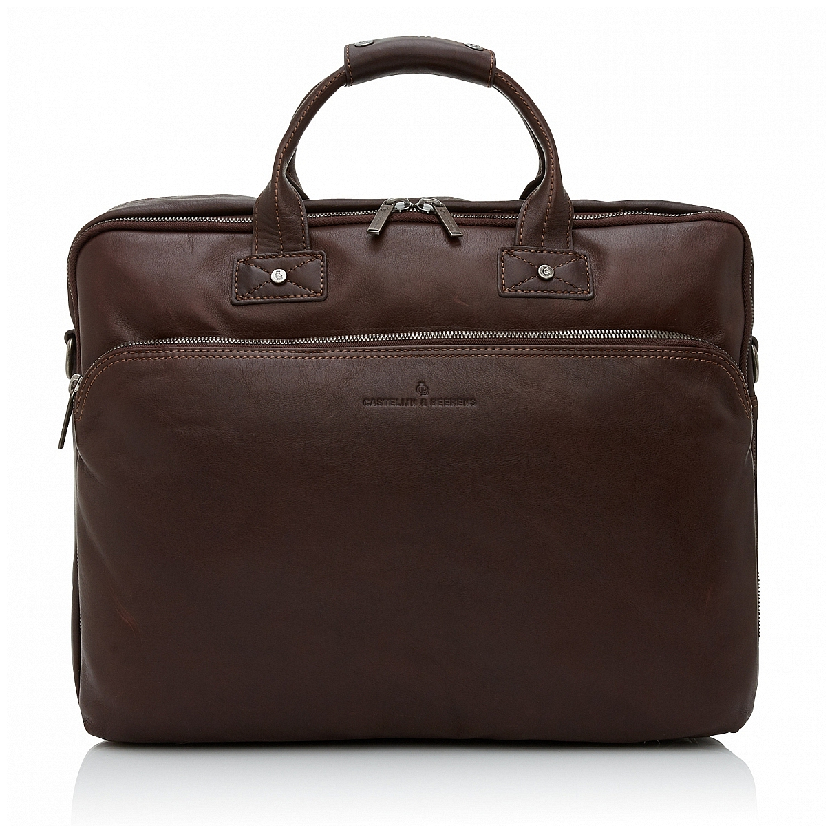 Castelijn & Beerens Kožená taška na notebook a tablet 609474 tmavě hnědá