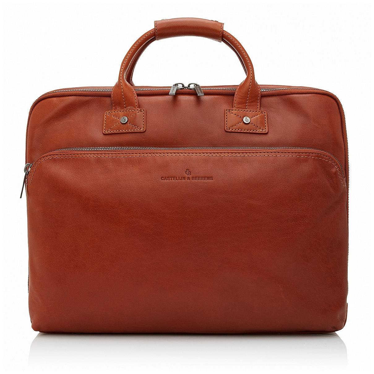 Castelijn & Beerens Kožená taška na notebook a tablet 609474 koňak