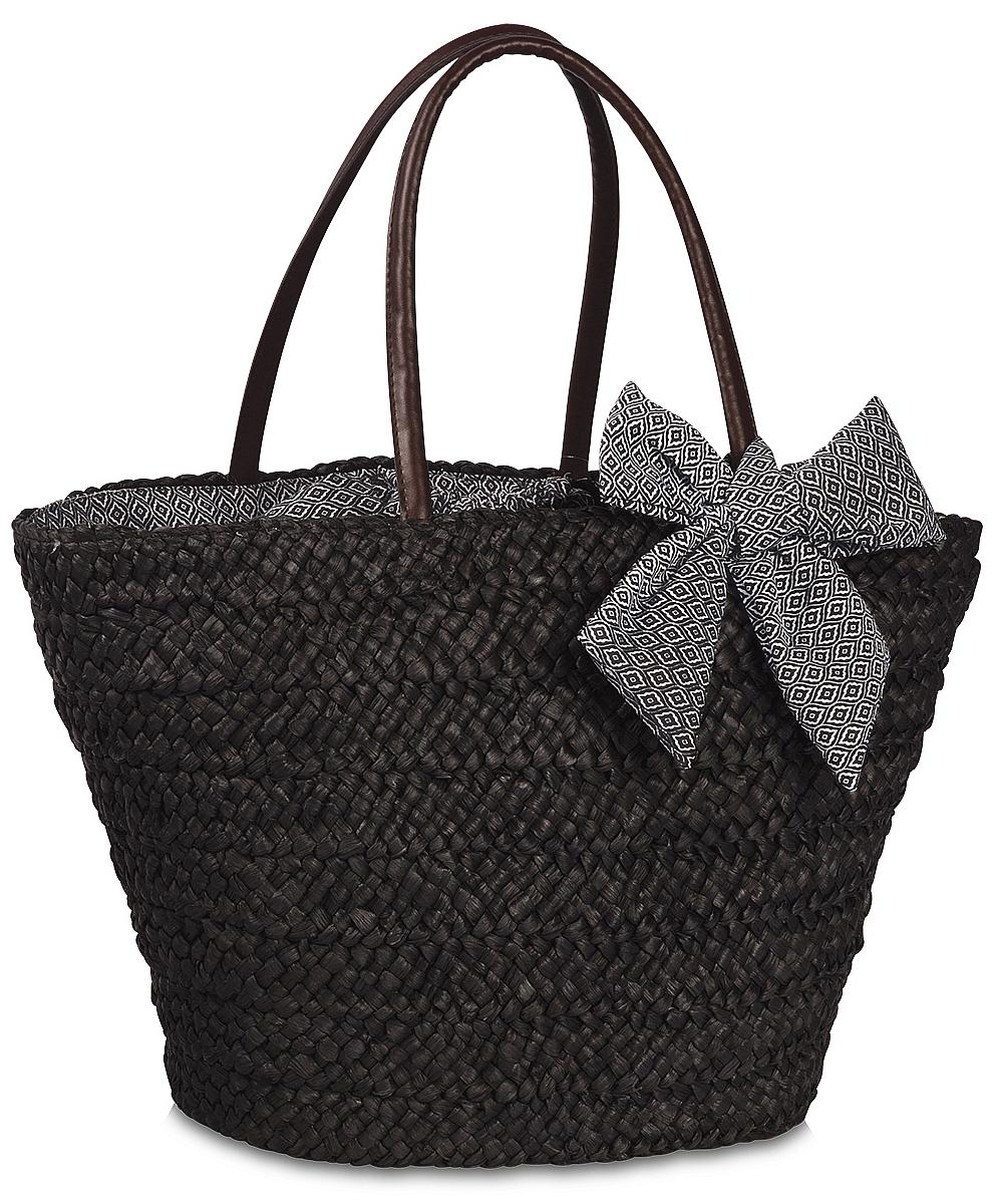 Fabrizio Elegantní plážový košík s mašlí 55124-0100 černý