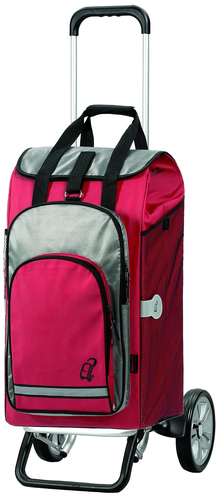 Andersen Nákupní taška na kolečkách - batoh ALU STAR SHOPPER® HYDRO 115-036-70 červená