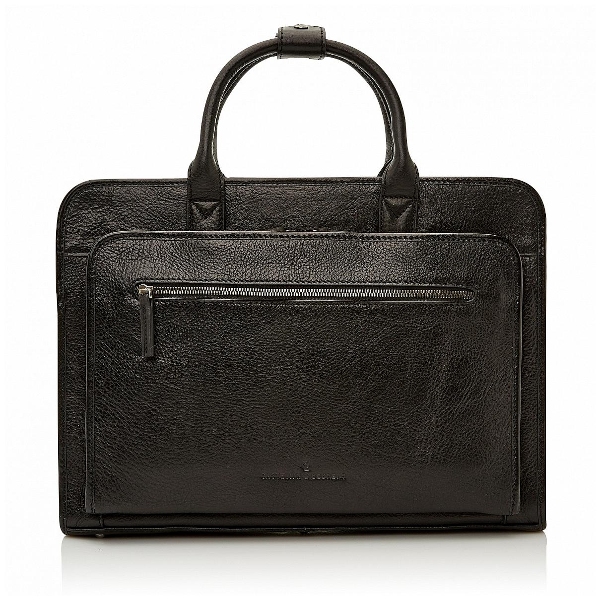 Castelijn & Beerens Klasická kožená taška na notebook 649475 černá