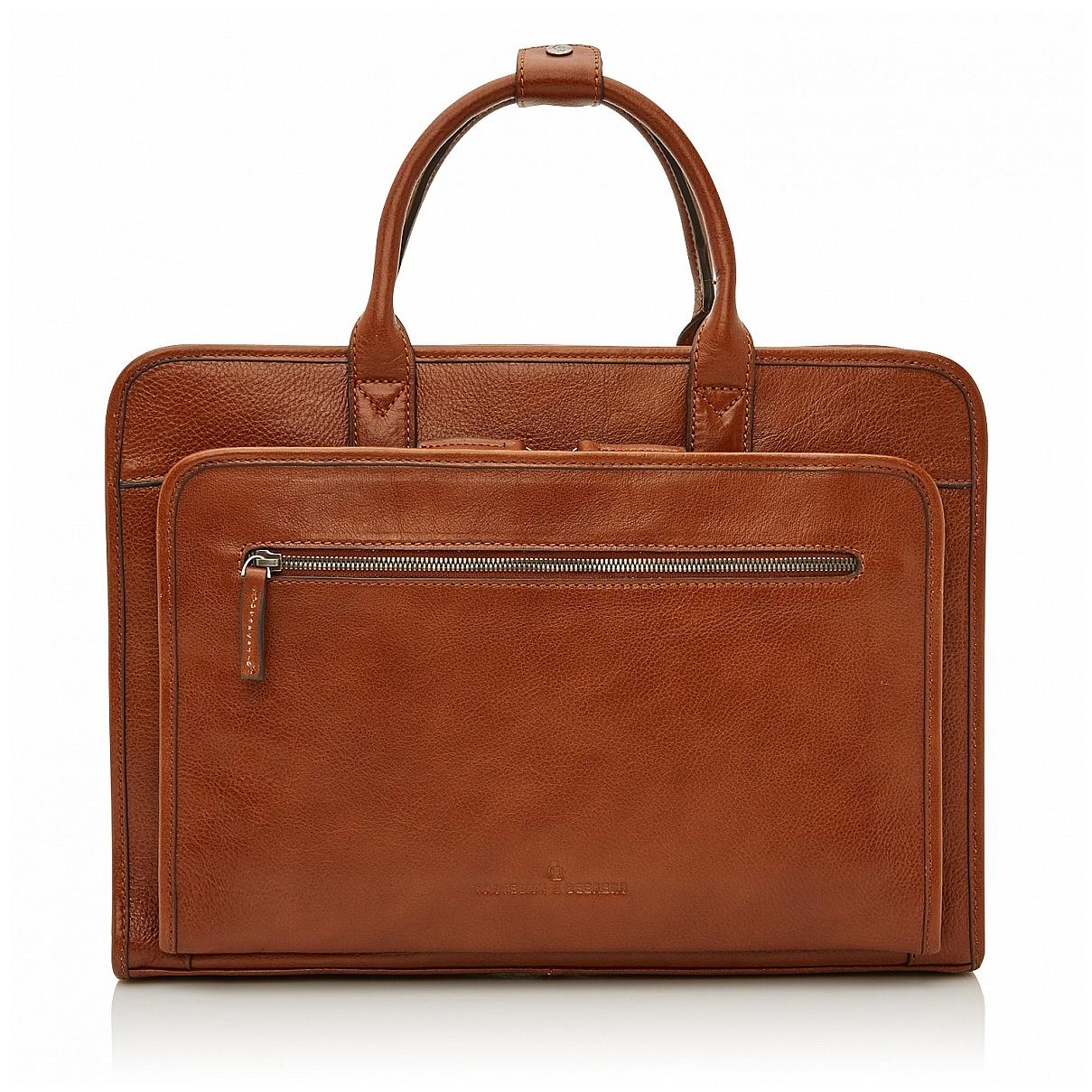 Castelijn & Beerens Klasická kožená taška na notebook 649475 koňak