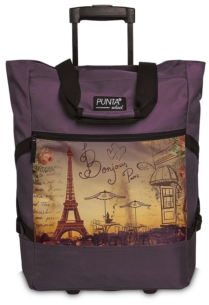 PUNTA wheel Nákupní taška na kolečkách 10008-3021 Paříž švestková