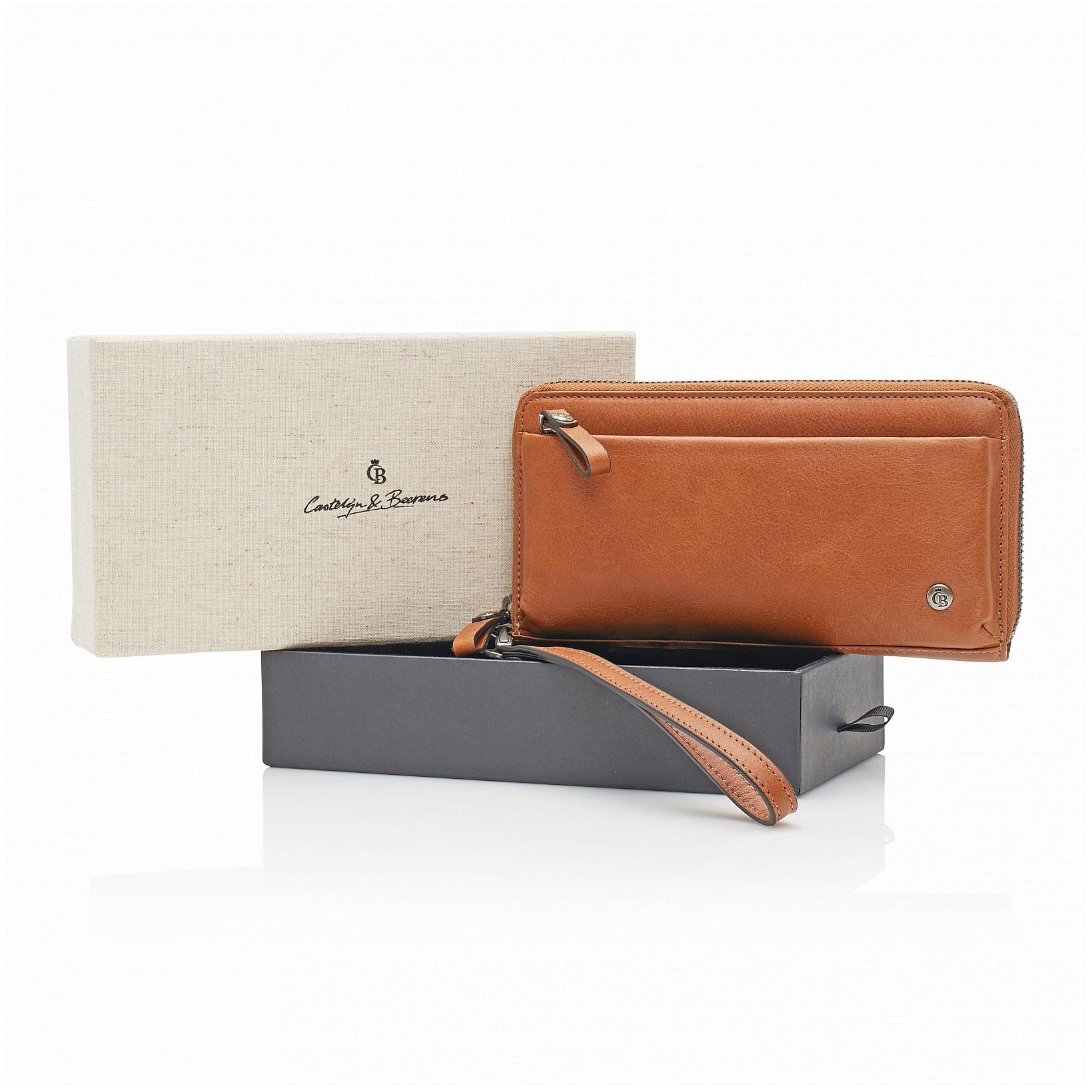 Castelijn & Beerens Dámská kožená peněženka v dárkové krabičce 805515 LB koňak