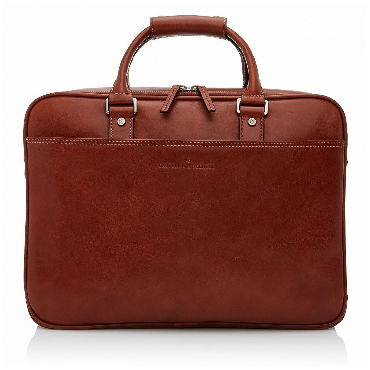Castelijn & Beerens Kožená taška na notebook a tablet 689476 světle hnědá