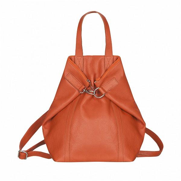 dc75bf4383 ESTELLE Dámský kožený batoh - kabelka 3v1 1409-49 oranžová - UNIVARO