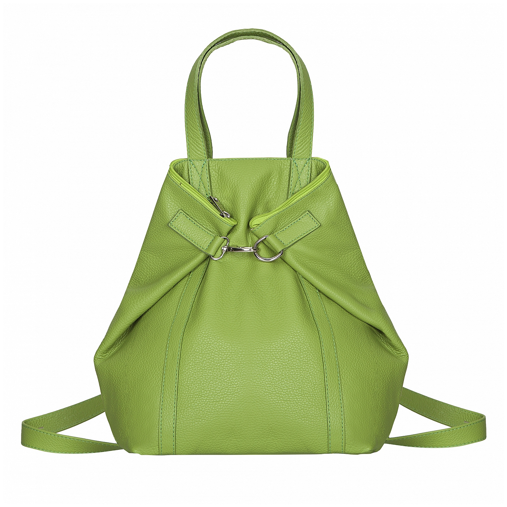 ESTELLE Dámský kožený batoh - kabelka 3v1 1409-75 zelená