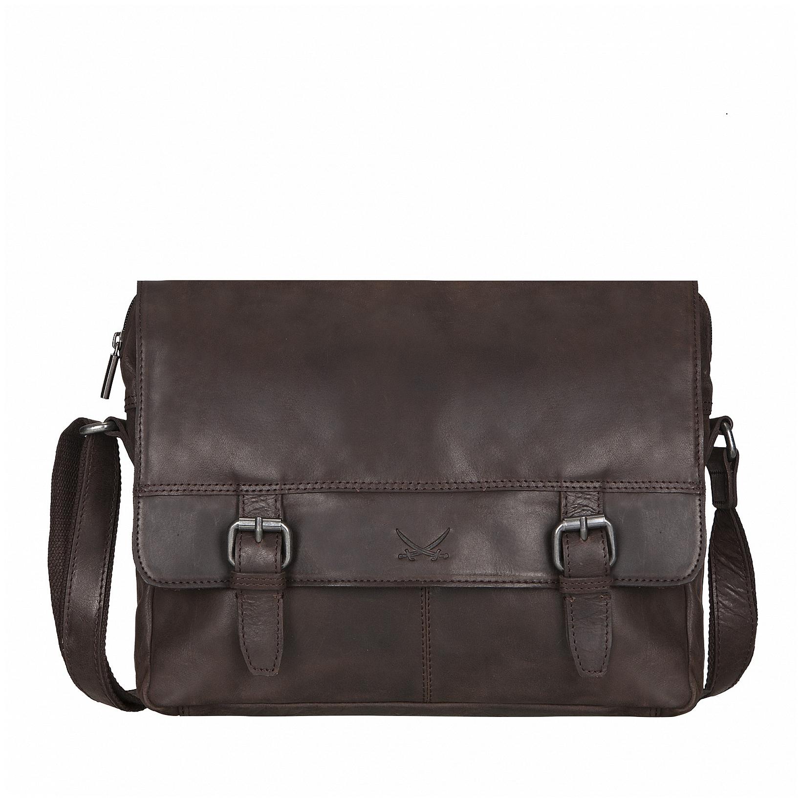 SANSIBAR Kožená taška přes rameno B-242 ST tmavě hnědá