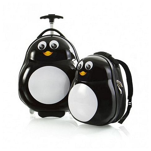 Heys Dětská sada batohu a kufru Travel Tots Lightweight Kids Penguin 13030-3088-00 bílá/černá