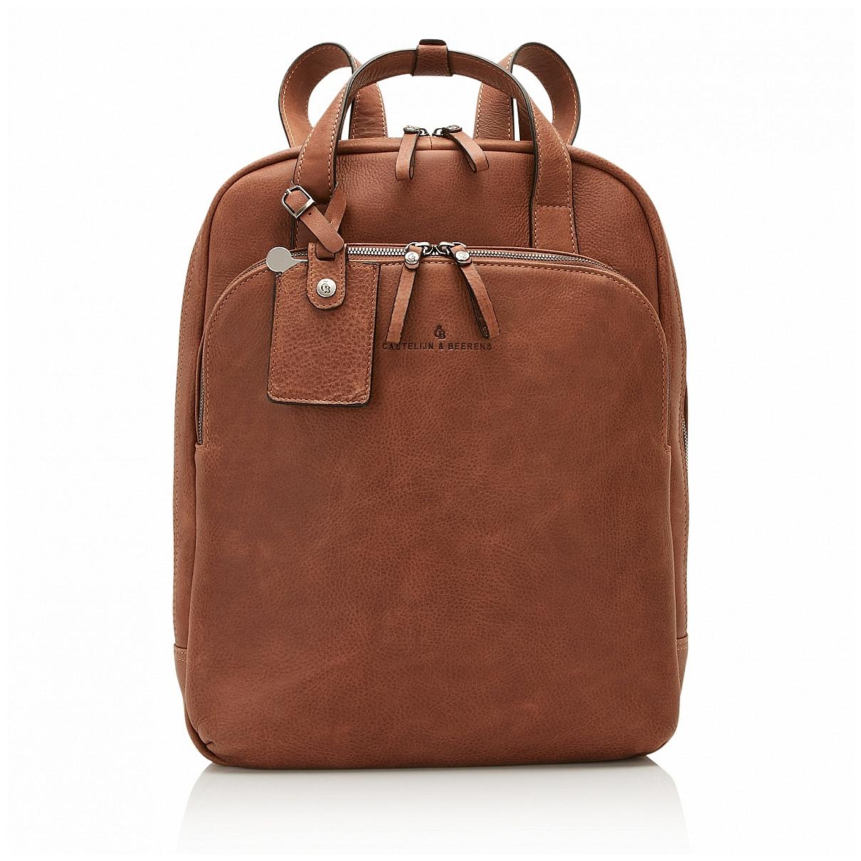Castelijn & Beerens Elegantní kožený batoh na notebook 729577 koňak