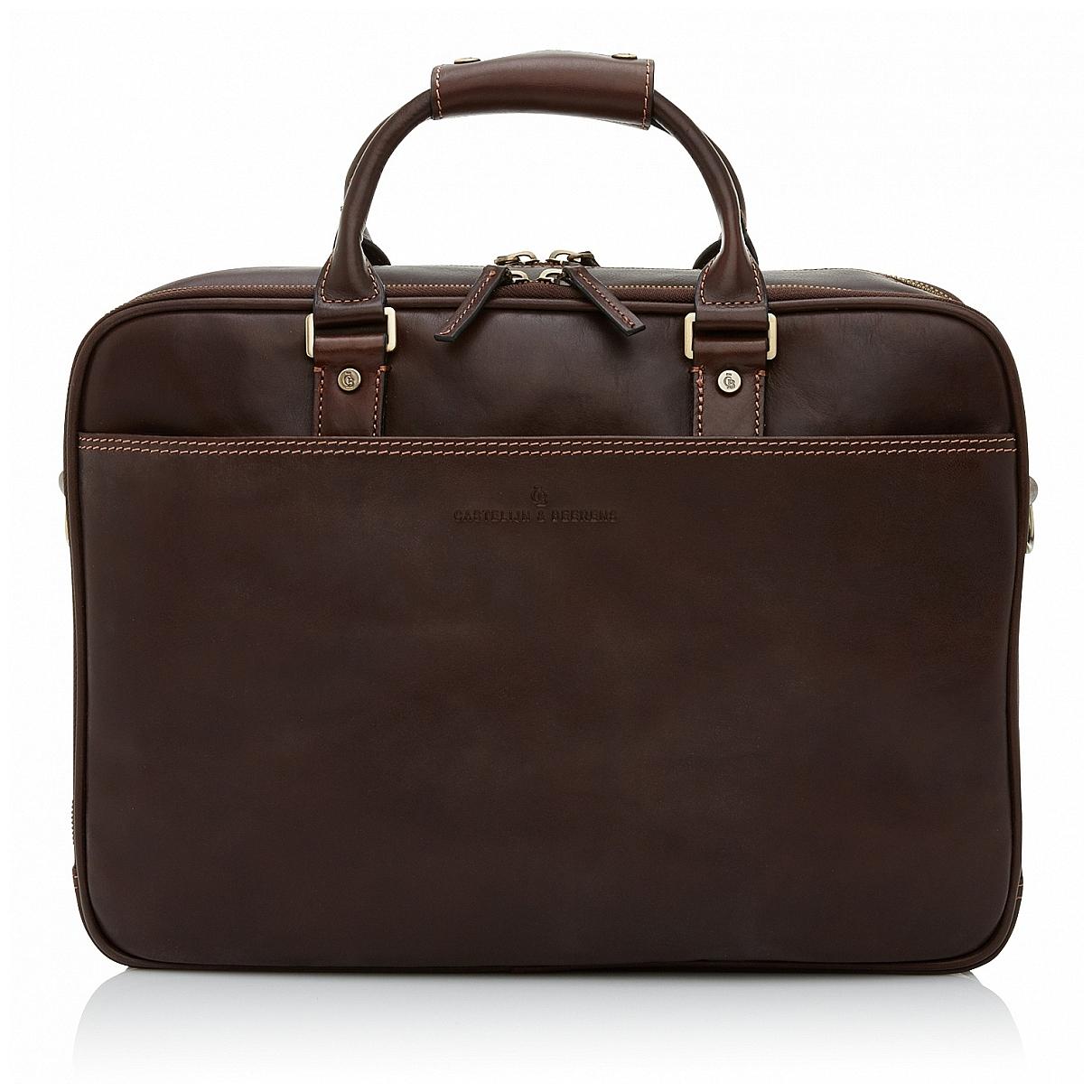 Castelijn & Beerens Kožená taška na notebook a tablet 689476 tmavě hnědá