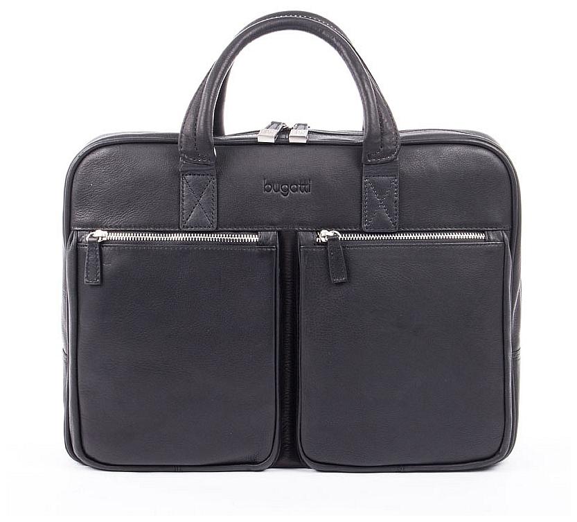 Bugatti Kožená business taška na notebook a tablet Sartoria 49546001 černá
