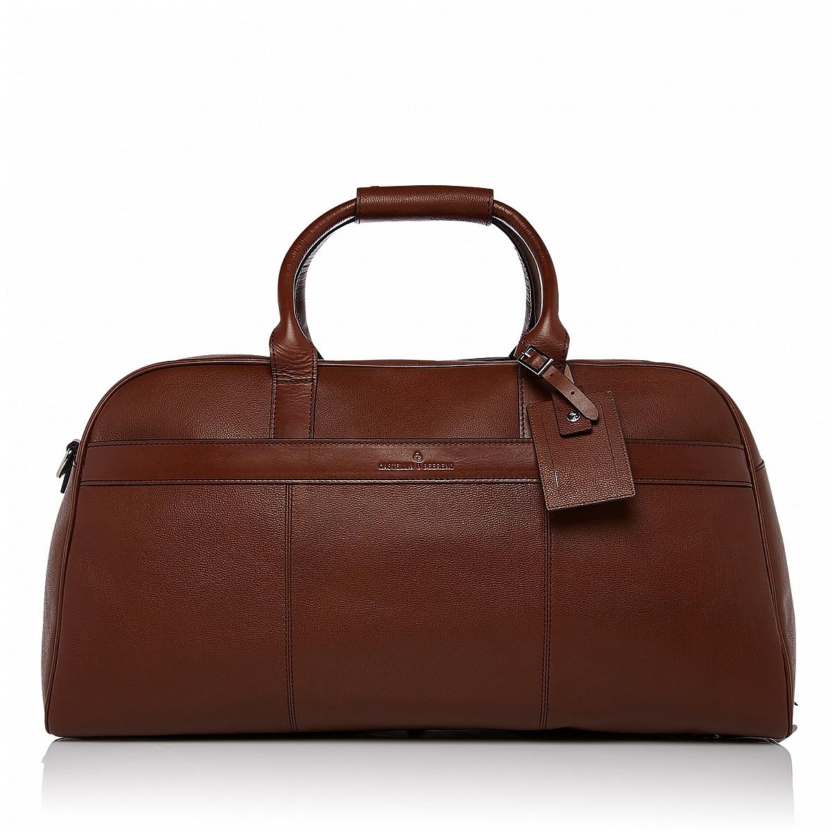 Castelijn & Beerens Elegantní kožená cestovní taška RFID 699320 VIVO koňak