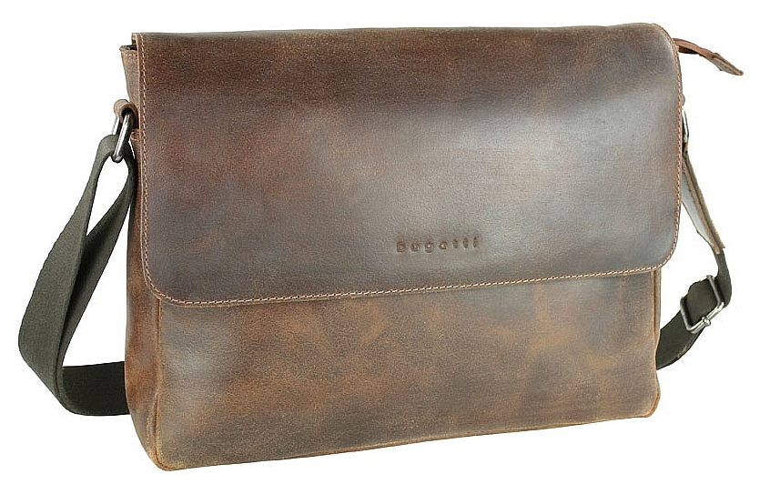 Bugatti Kožená messenger taška na notebook SEGNO 49548307 koňak
