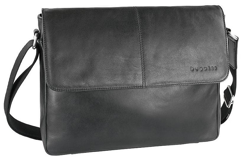 Bugatti Kožená messenger taška na notebook SEGNO 49548301 černá