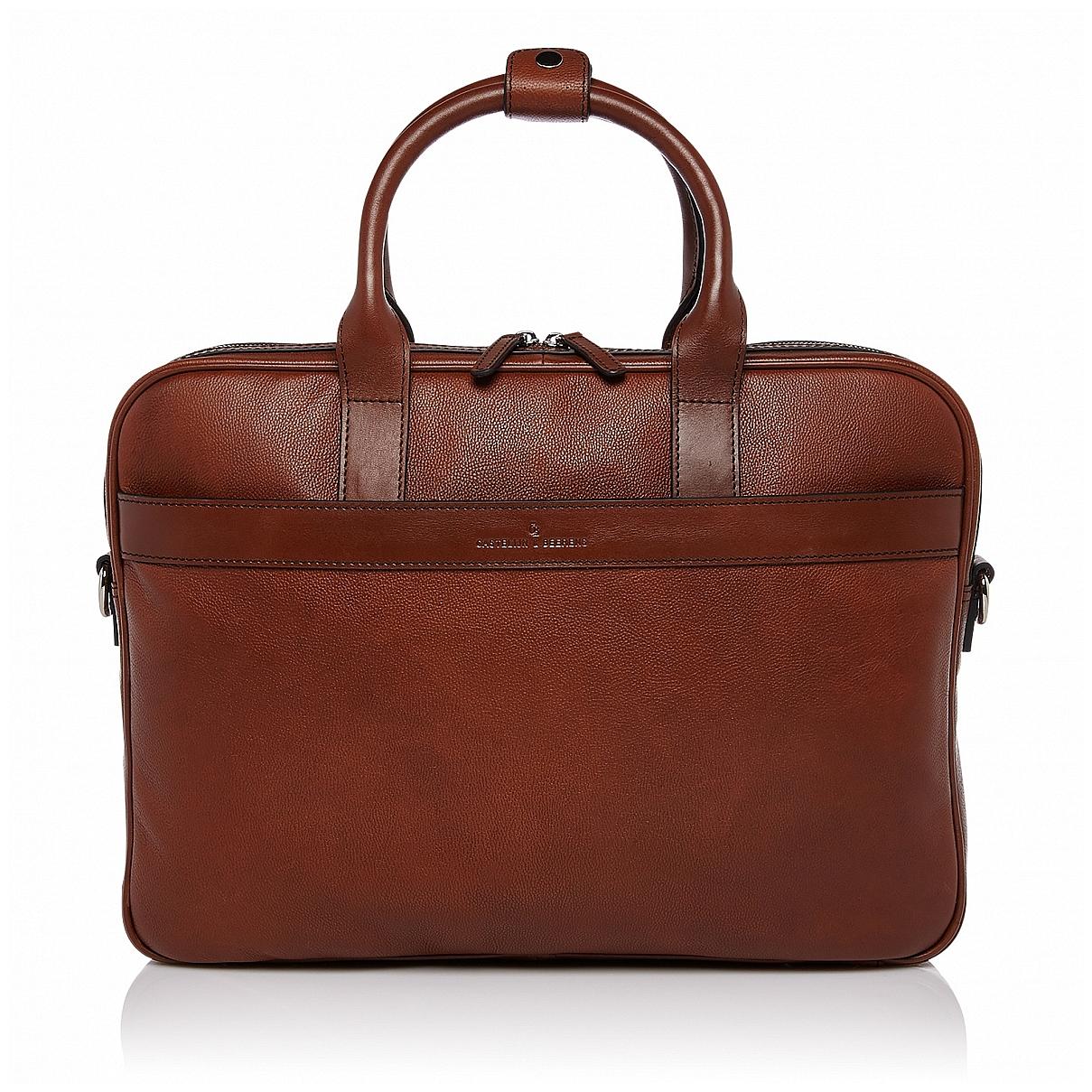 """Castelijn & Beerens Kožená taška na notebook 15,6"""" RFID 699472 VIVO koňak"""