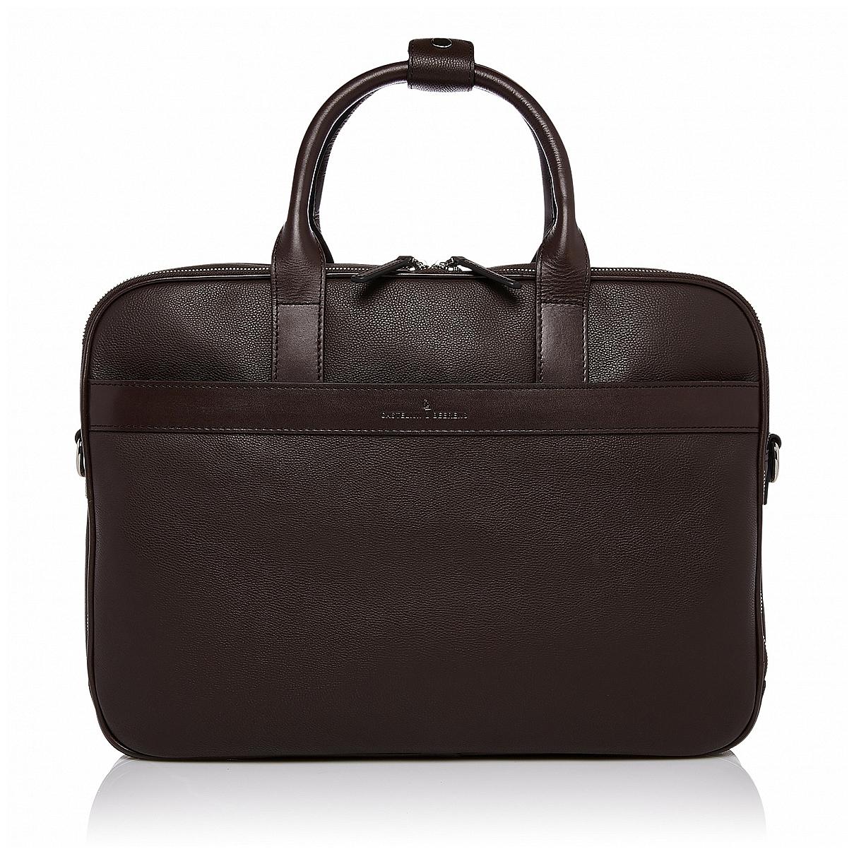 """Castelijn & Beerens Prostorná kožená taška na notebook 15,6"""" RFID 699476 VIVO hnědá"""