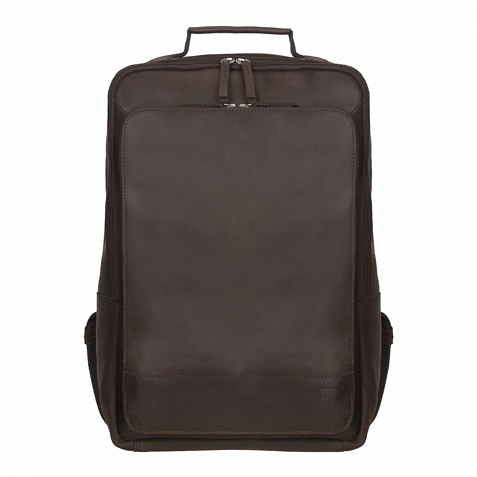 JOST Kožený batoh na notebook NARVIK 1348 hnědý