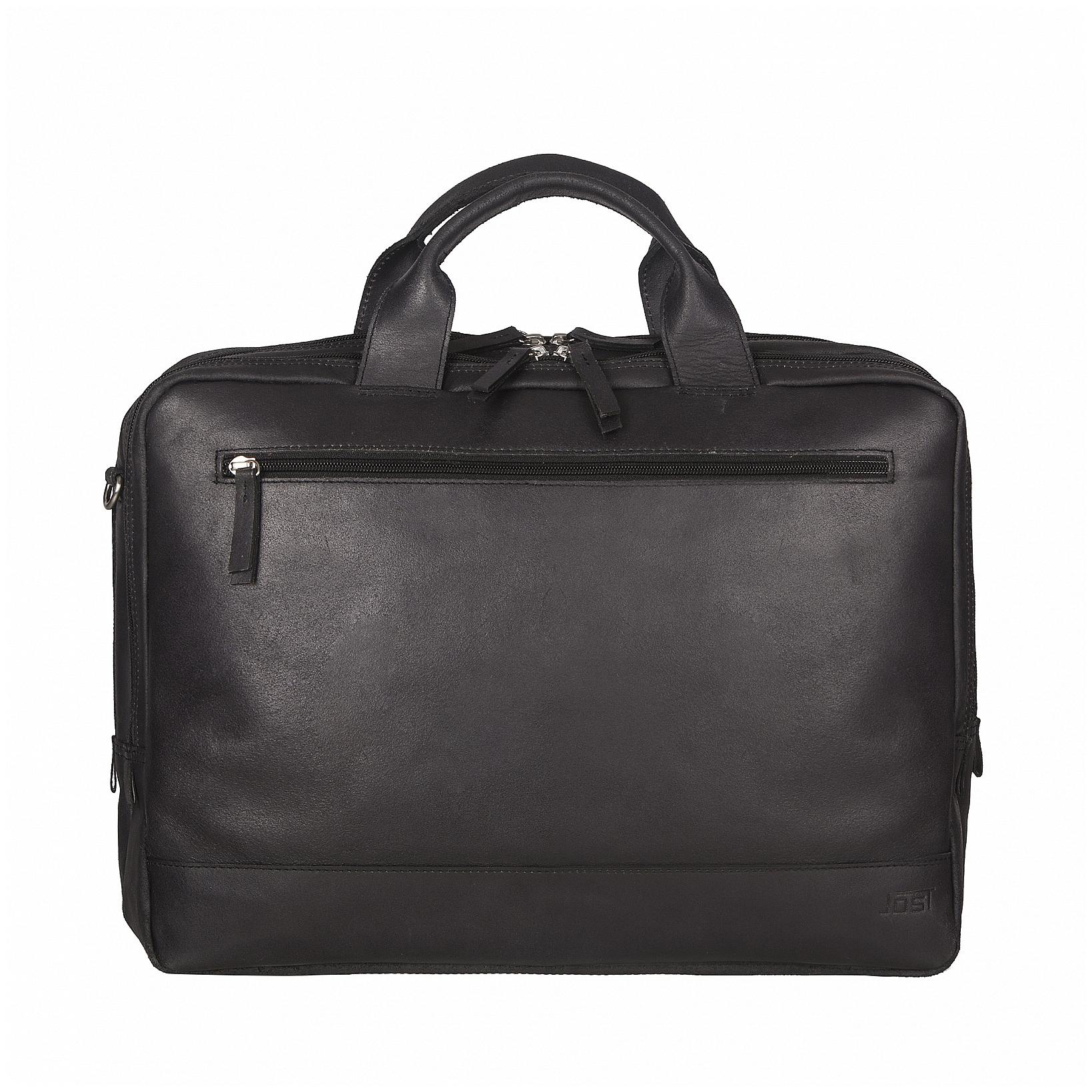 JOST Kožená byznys taška na notebook NARVIK 1347 černá