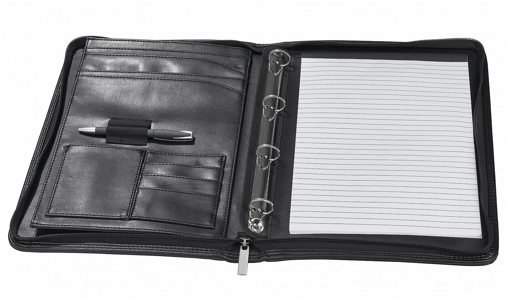 d & n Lederwaren Konferenční desky A4 s kroužkovou vazbou 5095 černá