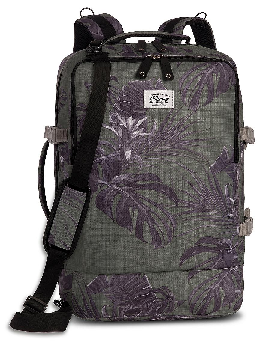 BestWay Příruční zavazadlo - palubní batoh 40252-2600 CABIN PRO PRINTS zelený s potiskem listů