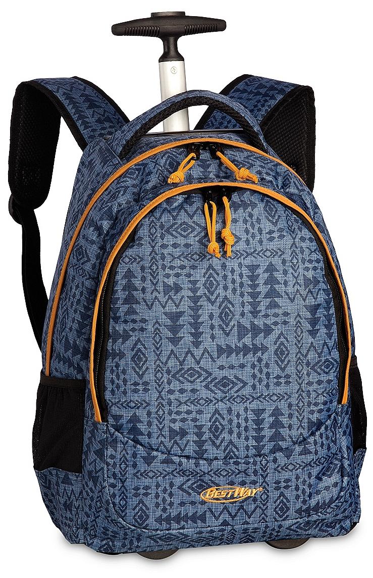 BestWay Školní batoh na kolečkách 40028-5300 šedo-modrý 37bf7c4745