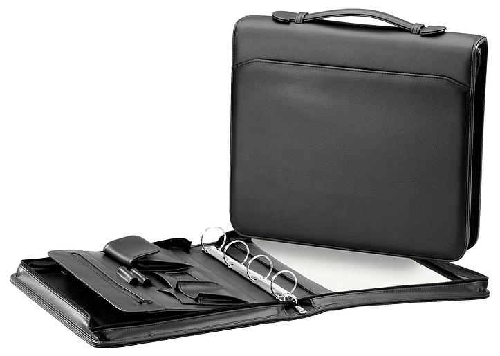 d & n Lederwaren Konferenční desky A4 s kroužkovou vazbou 5092 černá