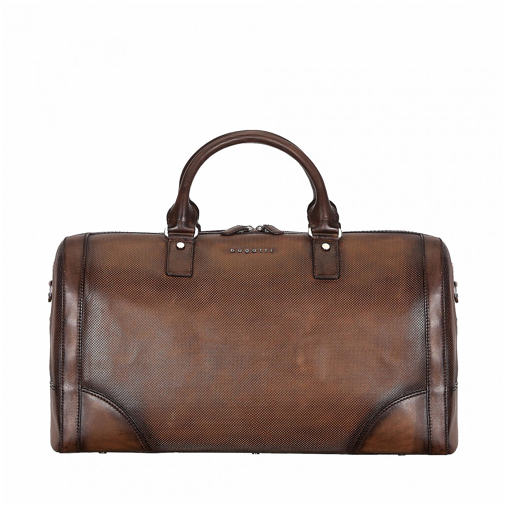 Bugatti Kožená cestovní taška PERFO 49396602 hnědá