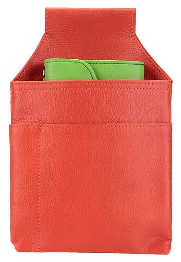 Hamosons Pouzdro na kasírku z hovězí kůže 009 červeno-oranžová