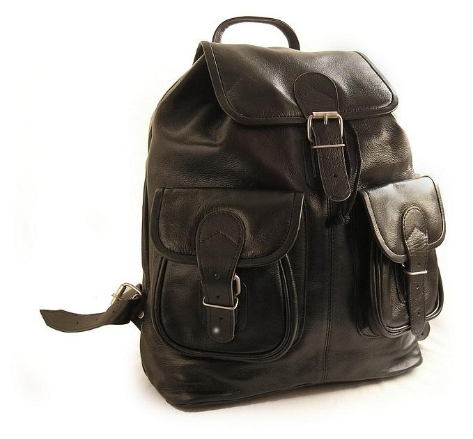 Hamosons Kožený batoh z hovězí kůže 559 černý