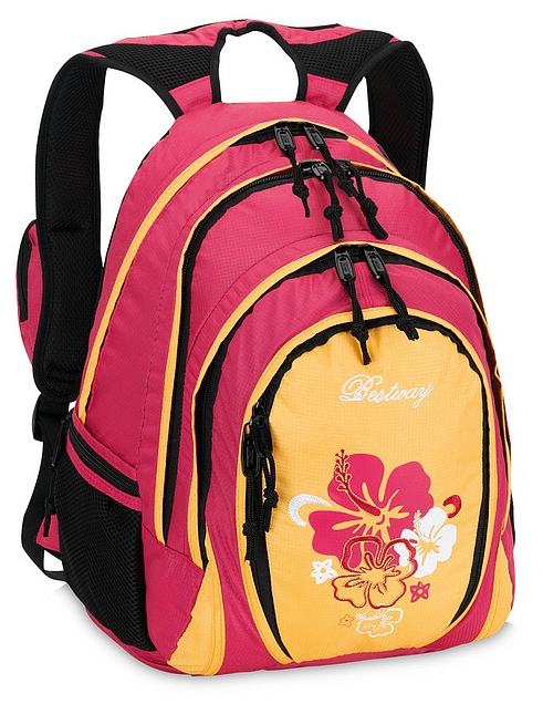 BestWay Školní batoh FLOWER 04567-4514 fuchsie / oranžová