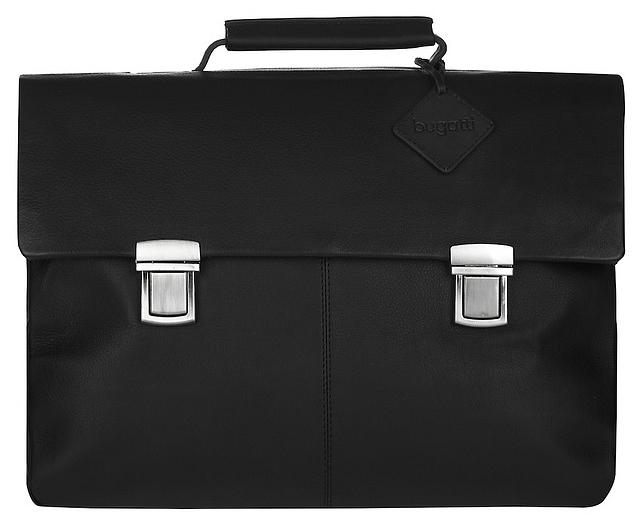 Bugatti Pánská kožená aktovka na notebook MANHATTAN 49111301 černá