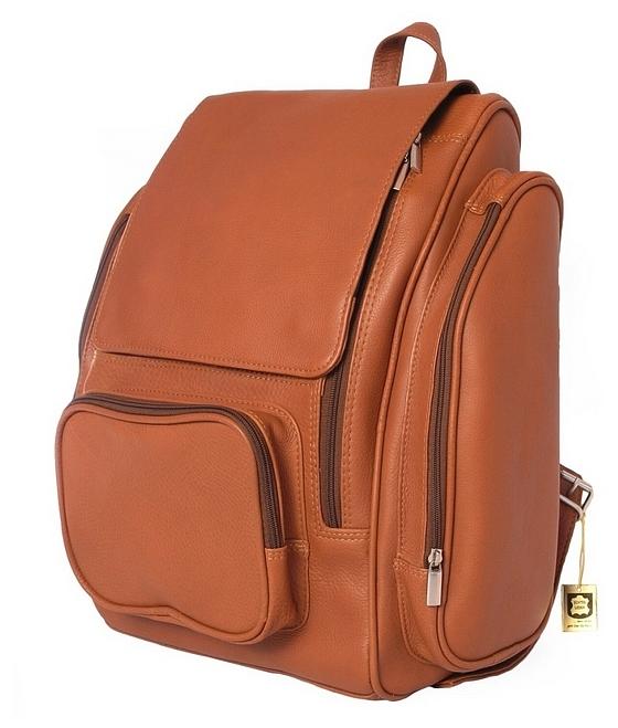 XL kožený batoh na notebook 709 koňak