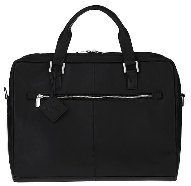 Bugatti Kožená business taška na notebook Manhattan 49111101 černá