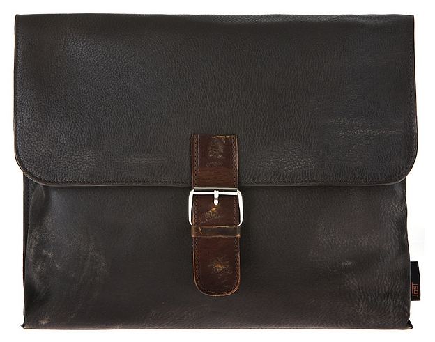JOST Kožená taška přes rameno BRONX L 1012 černo-hnědá