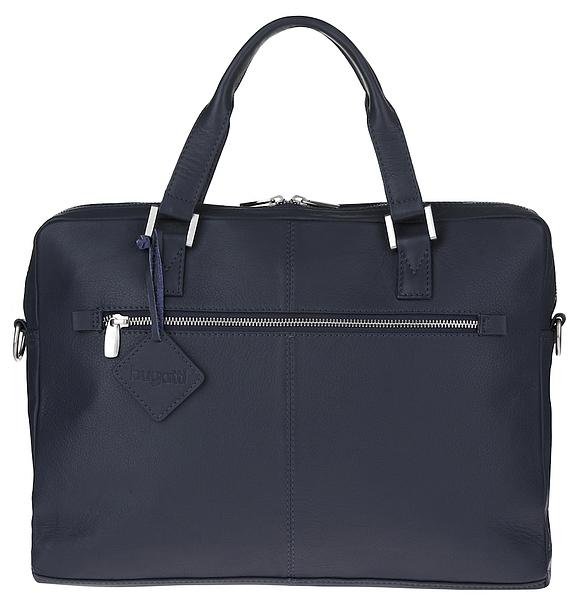 Bugatti Kožená business taška na notebook Manhattan 49111105 modrá